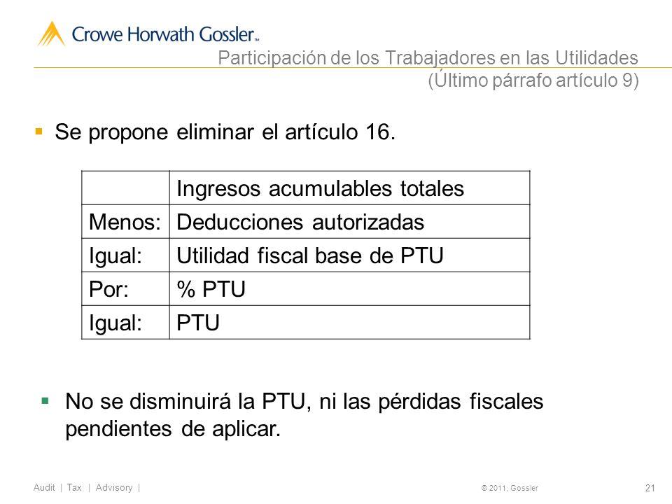 21 Audit | Tax | Advisory | © 2011, Gossler Participación de los Trabajadores en las Utilidades (Último párrafo artículo 9) Se propone eliminar el artículo 16.
