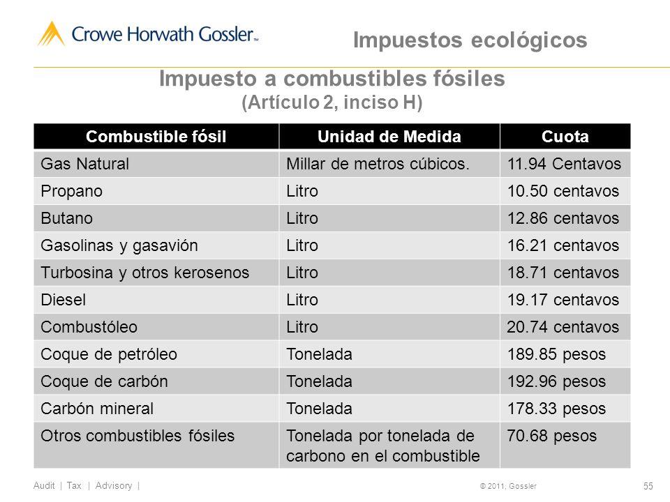 55 Audit | Tax | Advisory | © 2011, Gossler Combustible fósilUnidad de MedidaCuota Gas NaturalMillar de metros cúbicos.11.94 Centavos PropanoLitro10.50 centavos ButanoLitro12.86 centavos Gasolinas y gasaviónLitro16.21 centavos Turbosina y otros kerosenosLitro18.71 centavos DieselLitro19.17 centavos CombustóleoLitro20.74 centavos Coque de petróleoTonelada189.85 pesos Coque de carbónTonelada192.96 pesos Carbón mineralTonelada178.33 pesos Otros combustibles fósilesTonelada por tonelada de carbono en el combustible 70.68 pesos Impuesto a combustibles fósiles (Artículo 2, inciso H) Impuestos ecológicos
