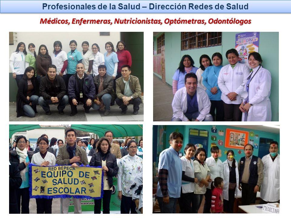 Profesionales de la Salud – Dirección Redes de Salud Médicos, Enfermeras, Nutricionistas, Optómetras, Odontólogos