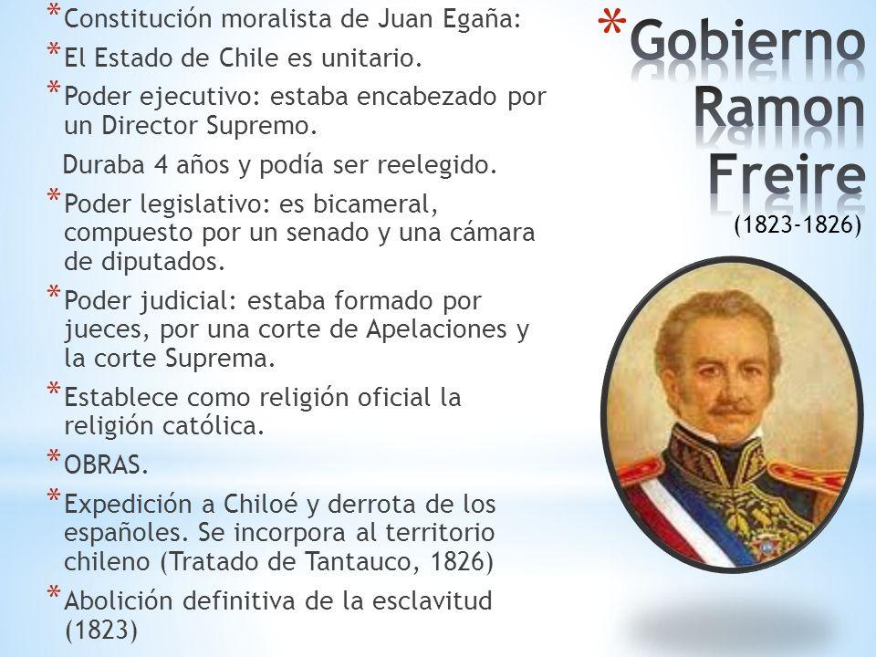 * Constitución moralista de Juan Egaña: * El Estado de Chile es unitario.