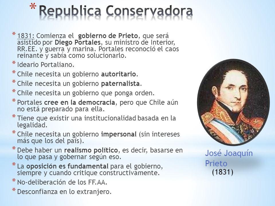 * 1831: Comienza el gobierno de Prieto, que será asistido por Diego Portales, su ministro de Interior, RR.EE.
