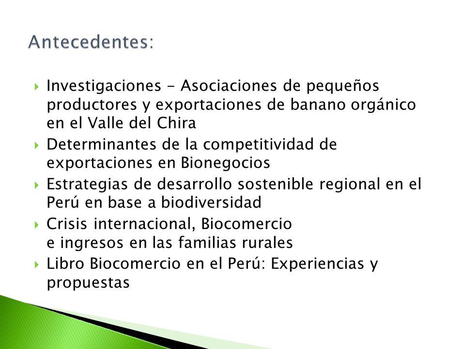Investigaciones - Asociaciones de pequeños productores y exportaciones de banano orgánico en el Valle del Chira Determinantes de la competitividad de exportaciones en Bionegocios Estrategias de desarrollo sostenible regional en el Perú en base a biodiversidad Crisis internacional, Biocomercio e ingresos en las familias rurales Libro Biocomercio en el Perú: Experiencias y propuestas