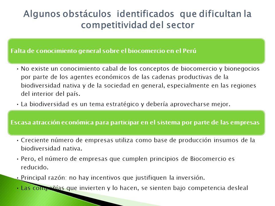 Algunos obstáculos identificados que dificultan la competitividad del sector Falta de conocimiento general sobre el biocomercio en el Perú No existe un conocimiento cabal de los conceptos de biocomercio y bionegocios por parte de los agentes económicos de las cadenas productivas de la biodiversidad nativa y de la sociedad en general, especialmente en las regiones del interior del país.