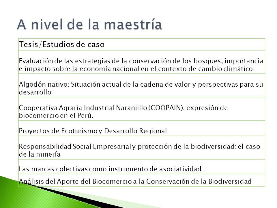 Tesis/Estudios de caso Evaluación de las estrategias de la conservación de los bosques, importancia e impacto sobre la economía nacional en el contexto de cambio climático Algodón nativo: Situación actual de la cadena de valor y perspectivas para su desarrollo Cooperativa Agraria Industrial Naranjillo (COOPAIN), expresión de biocomercio en el Perú.