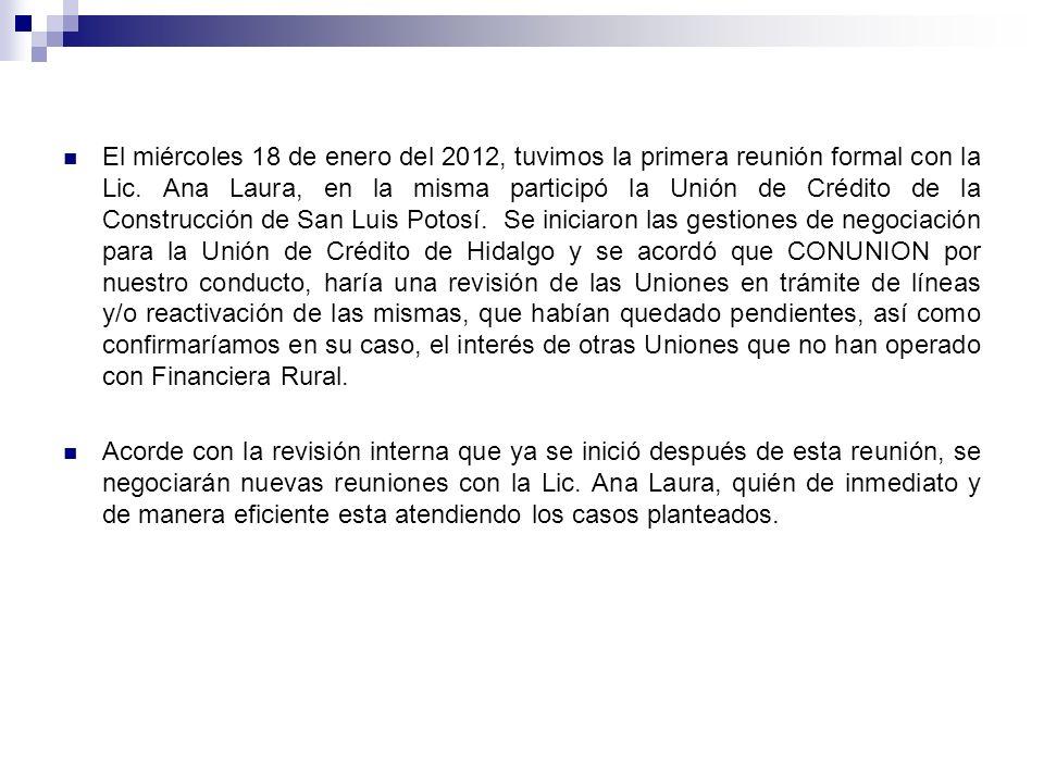 El miércoles 18 de enero del 2012, tuvimos la primera reunión formal con la Lic. Ana Laura, en la misma participó la Unión de Crédito de la Construcci