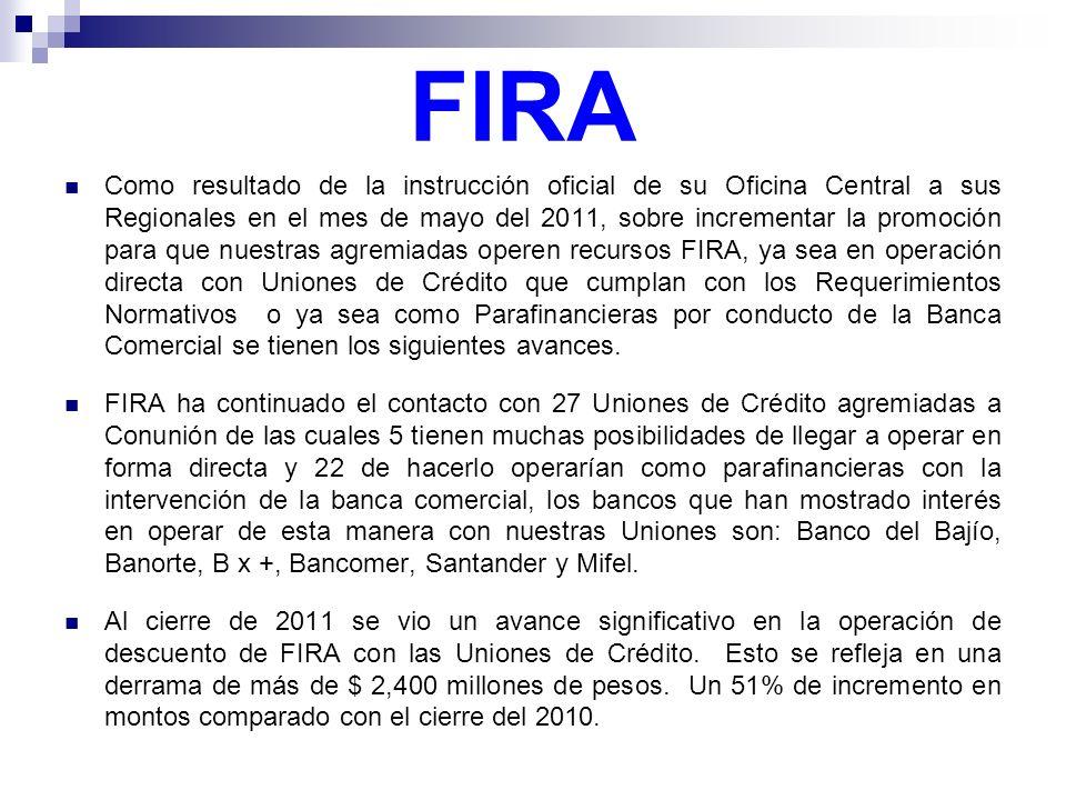 FIRA Como resultado de la instrucción oficial de su Oficina Central a sus Regionales en el mes de mayo del 2011, sobre incrementar la promoción para q