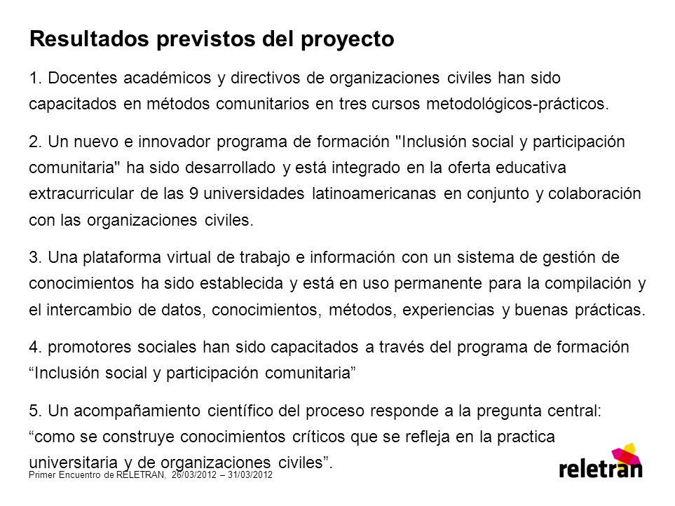 Resultados previstos del proyecto 1. Docentes académicos y directivos de organizaciones civiles han sido capacitados en métodos comunitarios en tres c