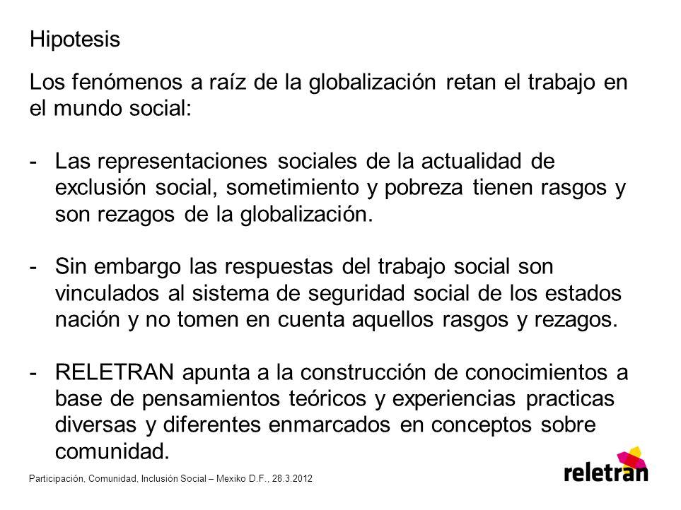 Hipotesis Los fenómenos a raíz de la globalización retan el trabajo en el mundo social: -Las representaciones sociales de la actualidad de exclusión s