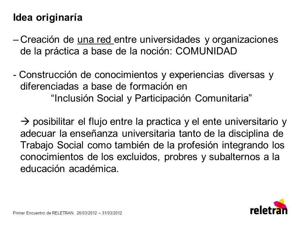 Primer Encuentro de RELETRAN, 26/03/2012 – 31/03/2012 Idea originaría –Creación de una red entre universidades y organizaciones de la práctica a base