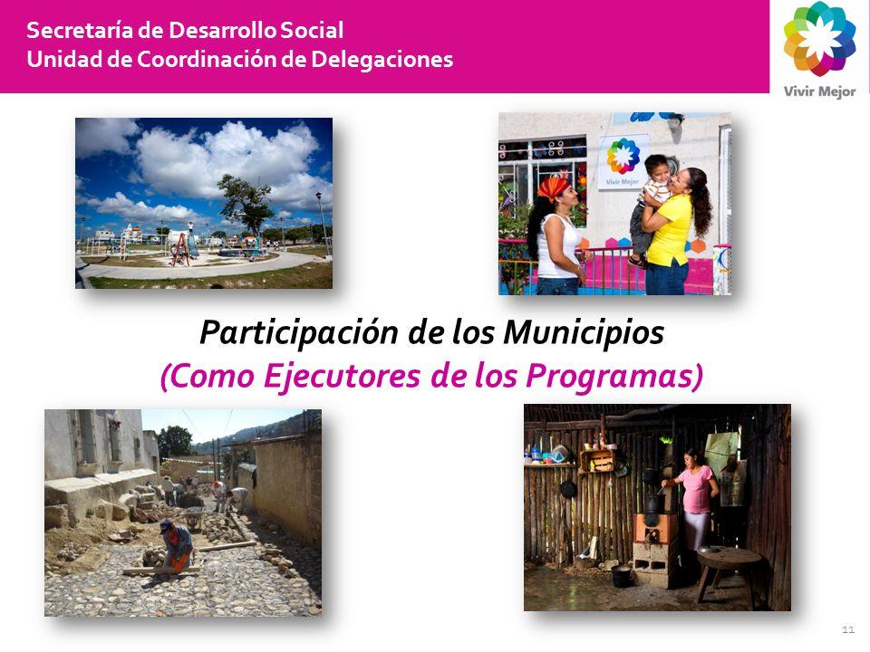 11 Secretaría de Desarrollo Social Unidad de Coordinación de Delegaciones Participación de los Municipios (Como Ejecutores de los Programas)