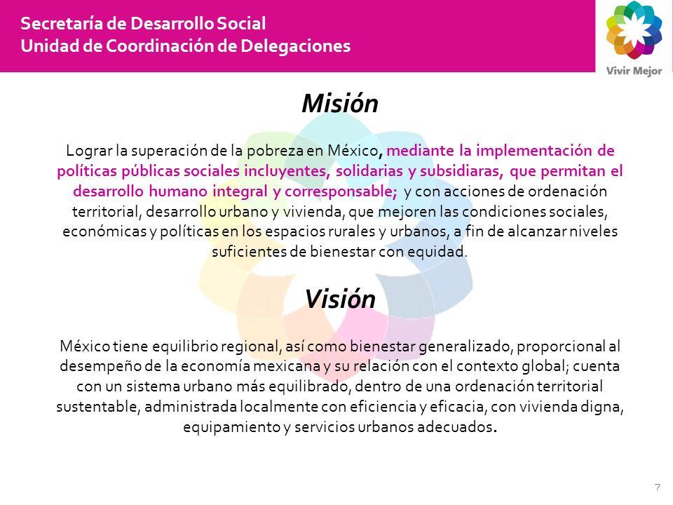 18 Secretaría de Desarrollo Social Unidad de Coordinación de Delegaciones Como Ejecutores en los Programas de Desarrollo Urbano, Ordenación del Territorio y Vivienda