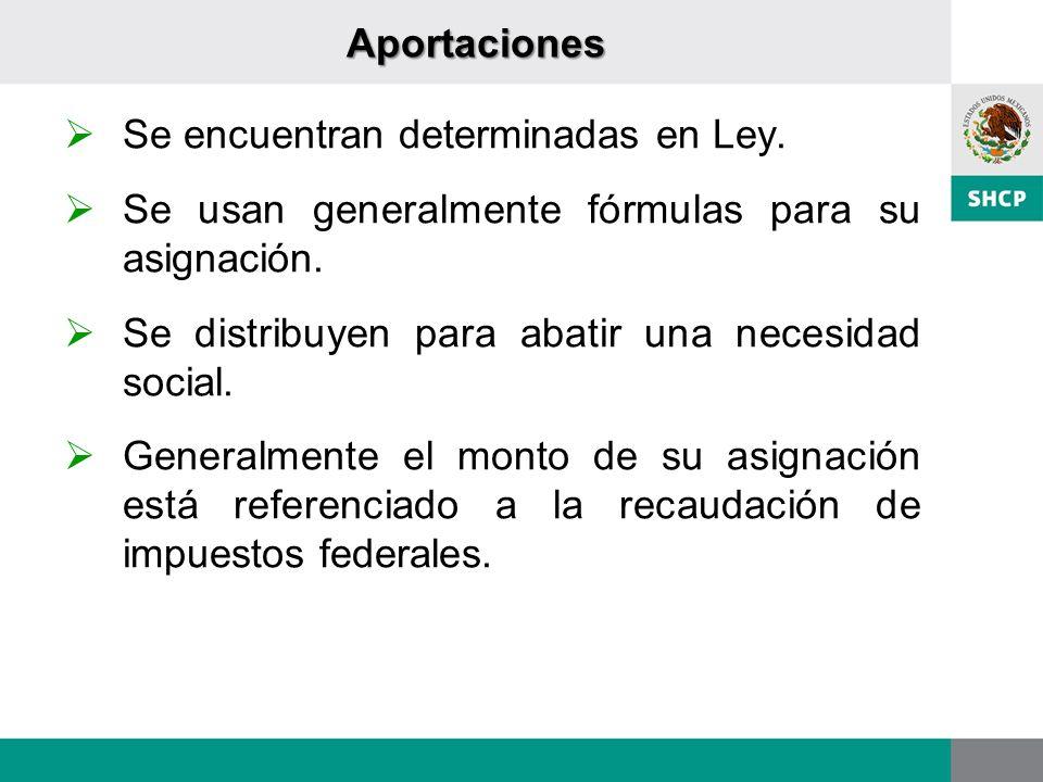 Aportaciones Se encuentran determinadas en Ley. Se usan generalmente fórmulas para su asignación. Se distribuyen para abatir una necesidad social. Gen