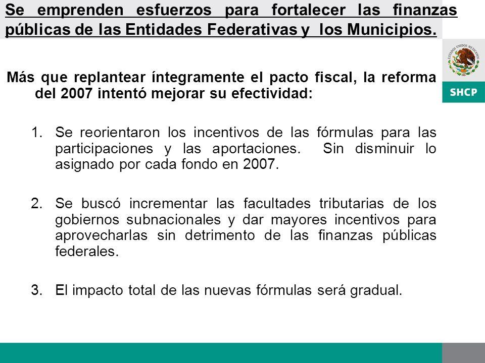 Se emprenden esfuerzos para fortalecer las finanzas públicas de las Entidades Federativas y los Municipios. Más que replantear íntegramente el pacto f