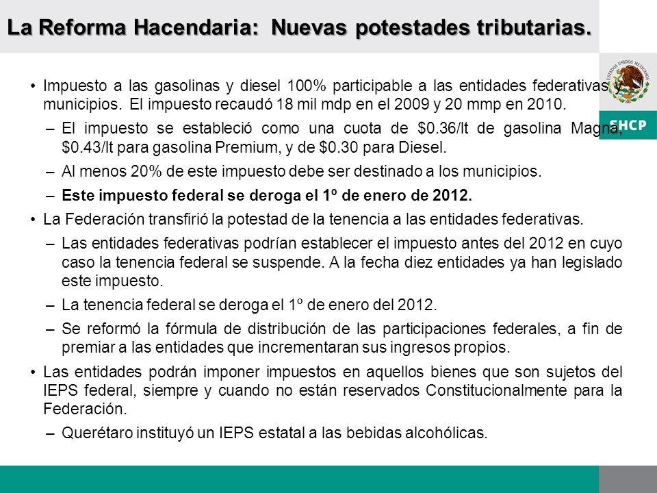 La Reforma Hacendaria: Nuevas potestades tributarias. Impuesto a las gasolinas y diesel 100% participable a las entidades federativas y municipios. El