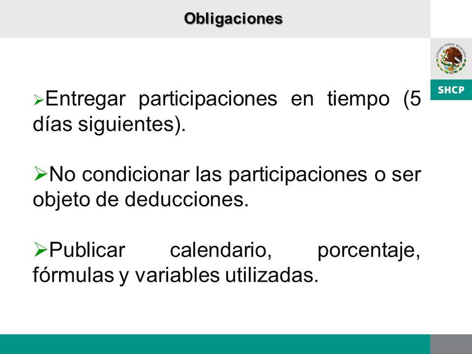 Entregar participaciones en tiempo (5 días siguientes). No condicionar las participaciones o ser objeto de deducciones. Publicar calendario, porcentaj