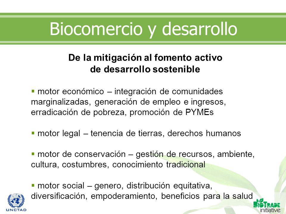 Biocomercio y desarrollo De la mitigación al fomento activo de desarrollo sostenible motor económico – integración de comunidades marginalizadas, gene