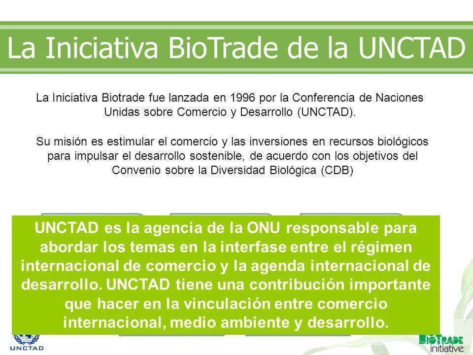 La Iniciativa Biotrade fue lanzada en 1996 por la Conferencia de Naciones Unidas sobre Comercio y Desarrollo (UNCTAD). La Iniciativa BioTrade de la UN
