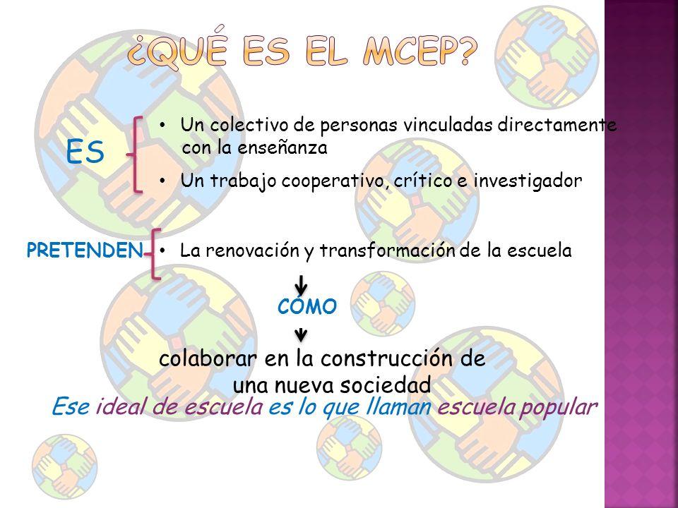 ES Un colectivo de personas vinculadas directamente con la enseñanza Un trabajo cooperativo, crítico e investigador PRETENDEN La renovación y transfor
