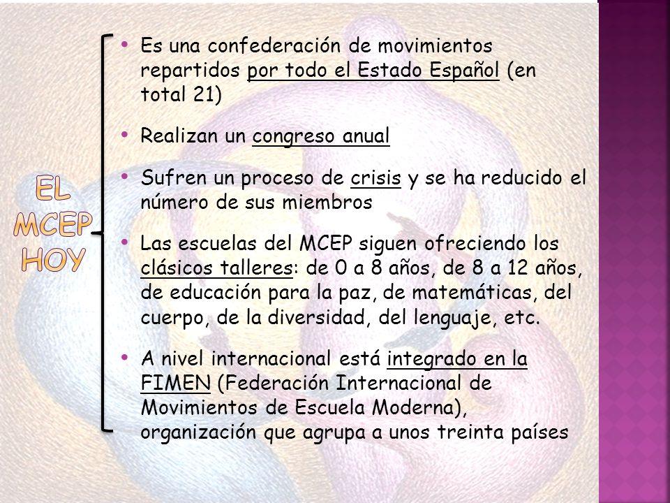 El movimiento en Almería ha sido relevante históricamente El colegio público más destacado en cuanto al trabajo del movimiento en nuestra provincia ha sido el colegio público «Los Almendros» En 1987 se celebró el XIV congreso del MCEP en nuestra ciudad Actualmente los máximos representantes de nuestra provincia son Carmen Segura y Emiliano Padilla