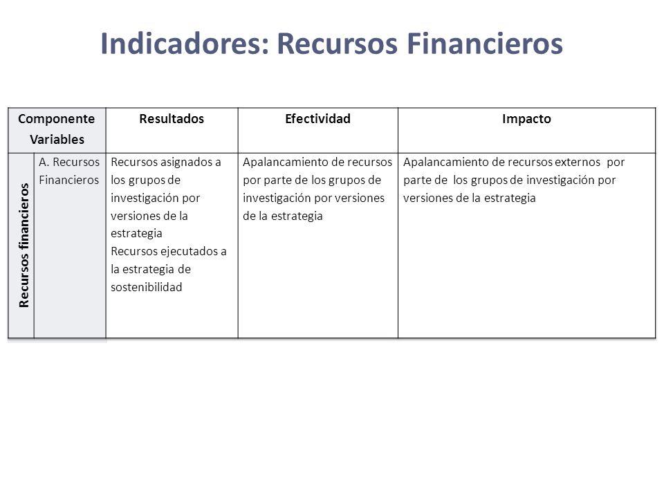 Indicadores: Recursos Financieros
