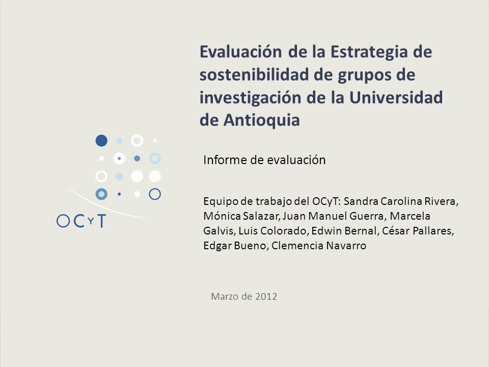 Grupos de investigación beneficiarios de la estrategia de sostenibilidad