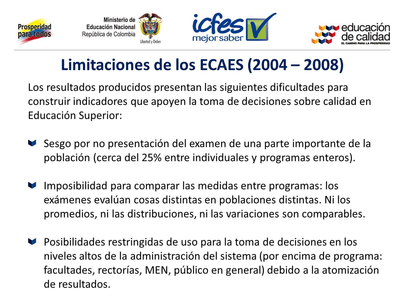 Limitaciones de los ECAES (2004 – 2008) Los resultados producidos presentan las siguientes dificultades para construir indicadores que apoyen la toma