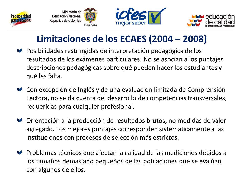 Posibilidades restringidas de interpretación pedagógica de los resultados de los exámenes particulares. No se asocian a los puntajes descripciones ped