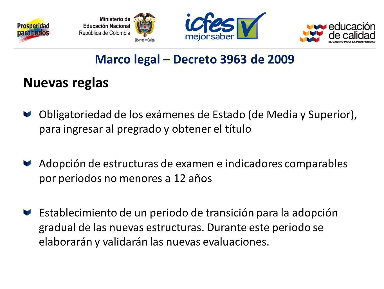 Nuevas reglas Obligatoriedad de los exámenes de Estado (de Media y Superior), para ingresar al pregrado y obtener el título Adopción de estructuras de