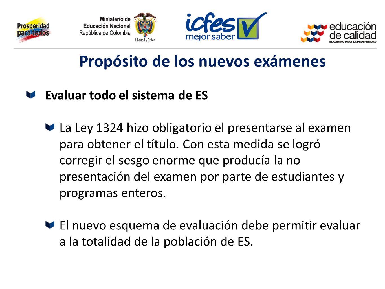 Evaluar todo el sistema de ES La Ley 1324 hizo obligatorio el presentarse al examen para obtener el título. Con esta medida se logró corregir el sesgo