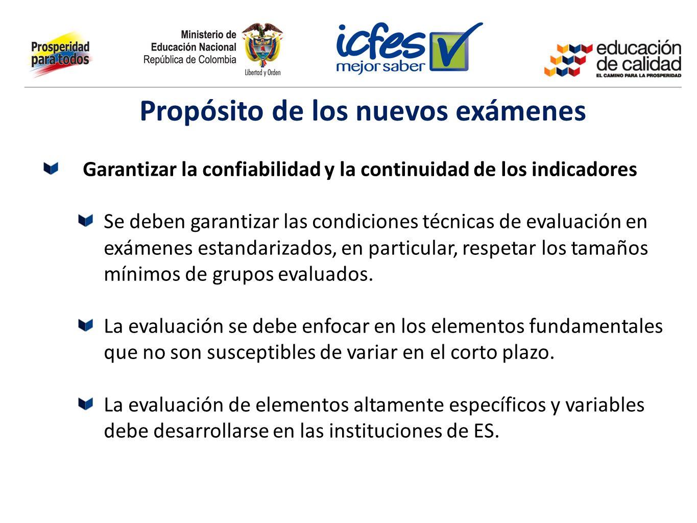 Garantizar la confiabilidad y la continuidad de los indicadores Se deben garantizar las condiciones técnicas de evaluación en exámenes estandarizados,