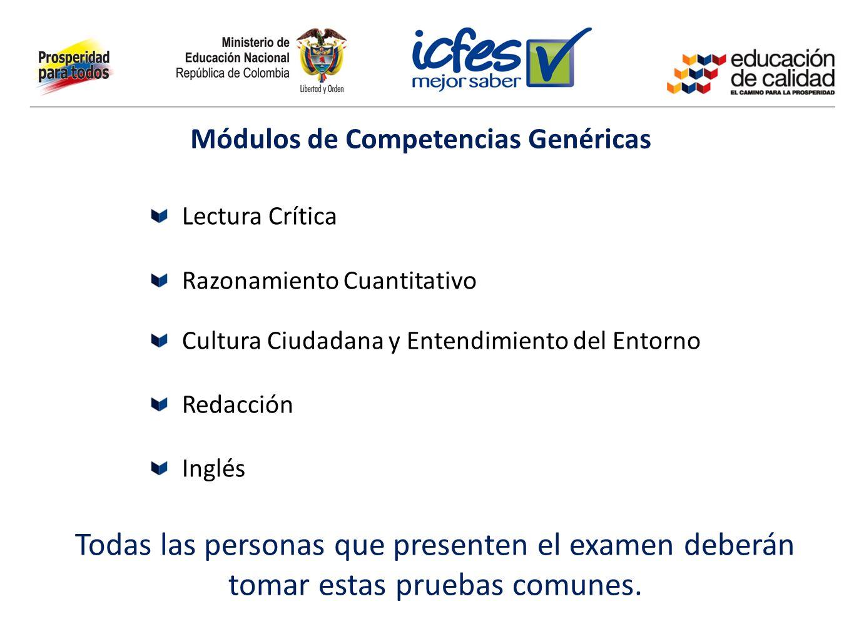 Módulos de Competencias Genéricas Lectura Crítica Razonamiento Cuantitativo Cultura Ciudadana y Entendimiento del Entorno Redacción Inglés Todas las p