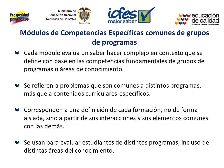 Módulos de Competencias Específicas comunes de grupos de programas Cada módulo evalúa un saber hacer complejo en contexto que se define con base en la