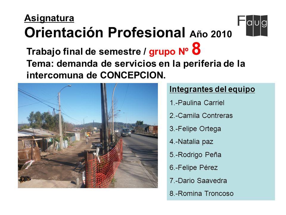 Asignatura Orientación Profesional Año 2010 Integrantes del equipo 1.-Paulina Carriel 2.-Camila Contreras 3.-Felipe Ortega 4.-Natalia paz 5.-Rodrigo P