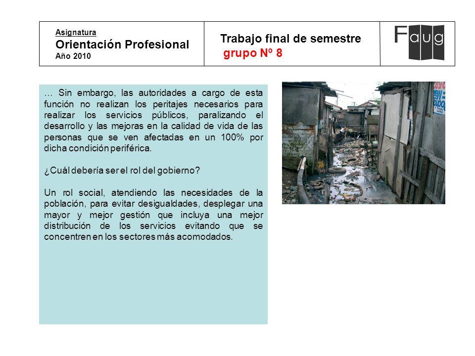 Asignatura Orientación Profesional Año 2010 Trabajo final de semestre grupo Nº 8 … Sin embargo, las autoridades a cargo de esta función no realizan lo