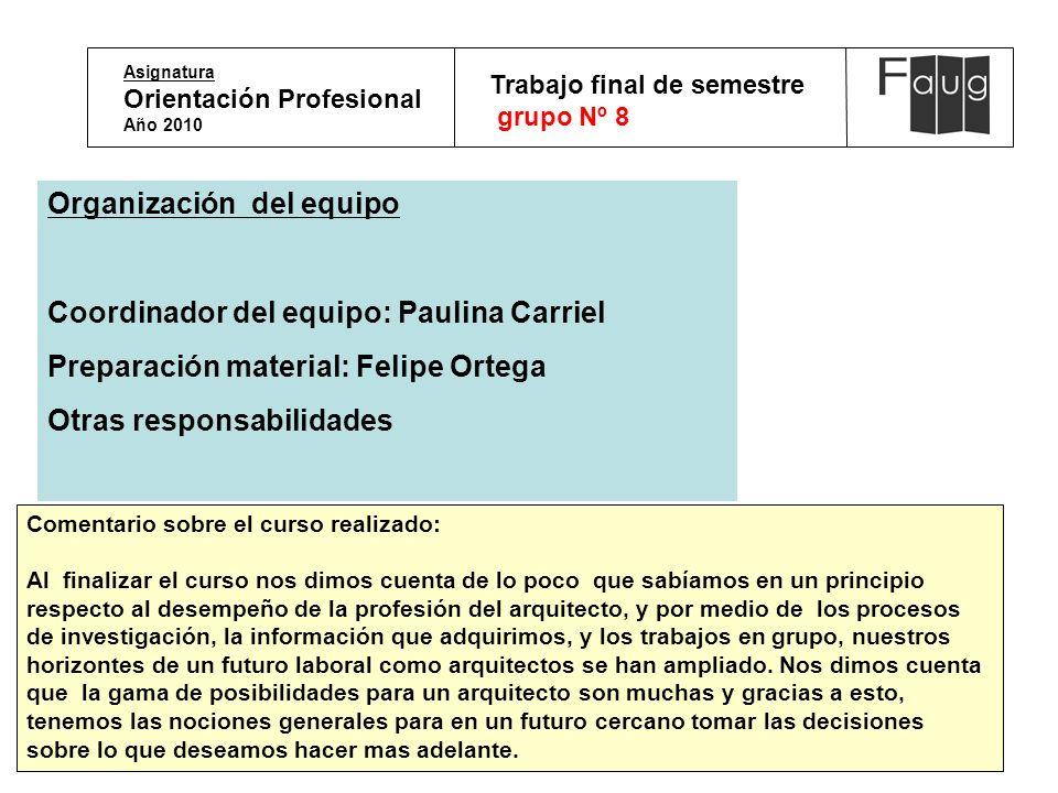 Asignatura Orientación Profesional Año 2010 Trabajo final de semestre grupo Nº 8 Organización del equipo Coordinador del equipo: Paulina Carriel Prepa