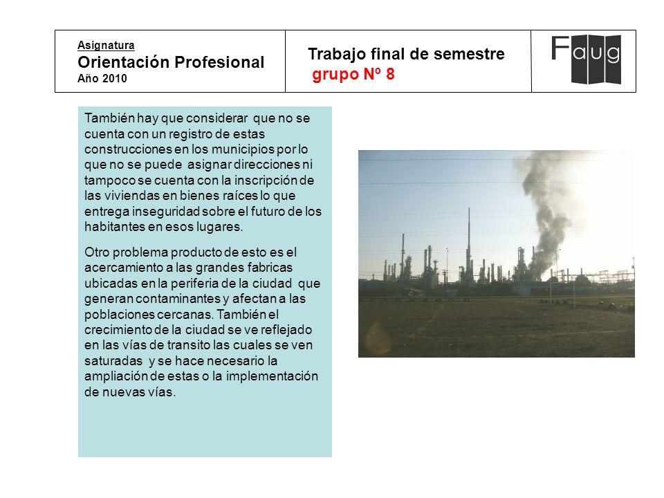 Asignatura Orientación Profesional Año 2010 Trabajo final de semestre grupo Nº 8 También hay que considerar que no se cuenta con un registro de estas