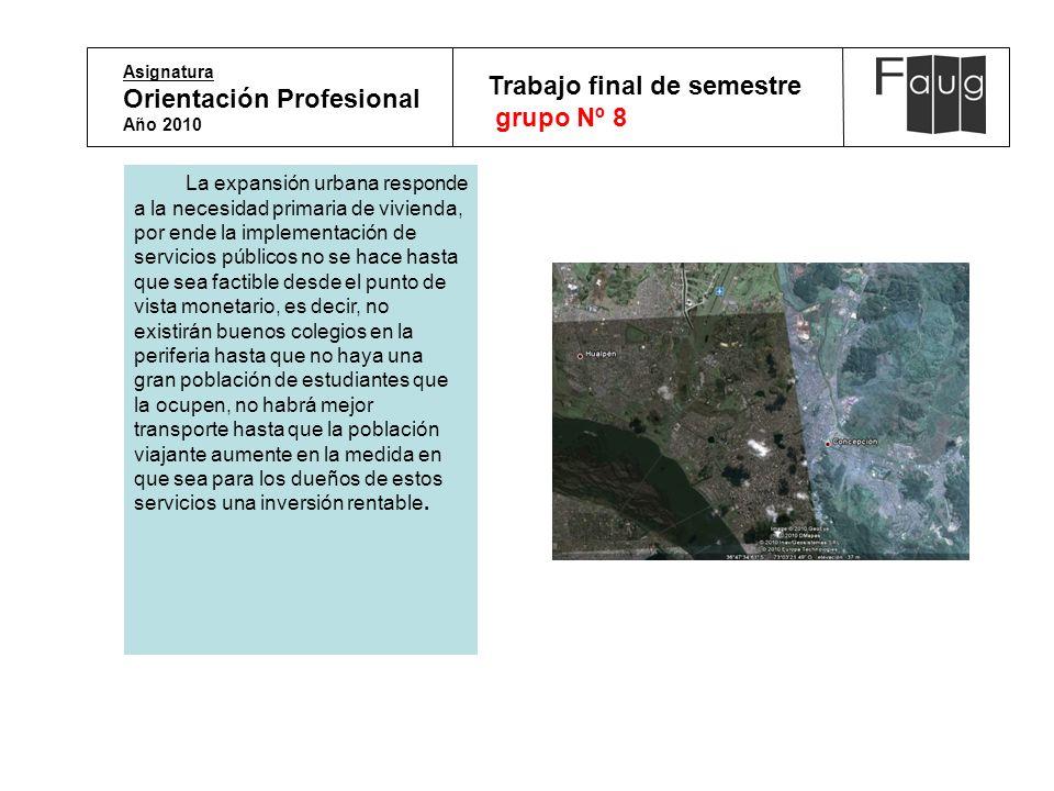 Asignatura Orientación Profesional Año 2010 Trabajo final de semestre grupo Nº 8 La expansión urbana responde a la necesidad primaria de vivienda, por