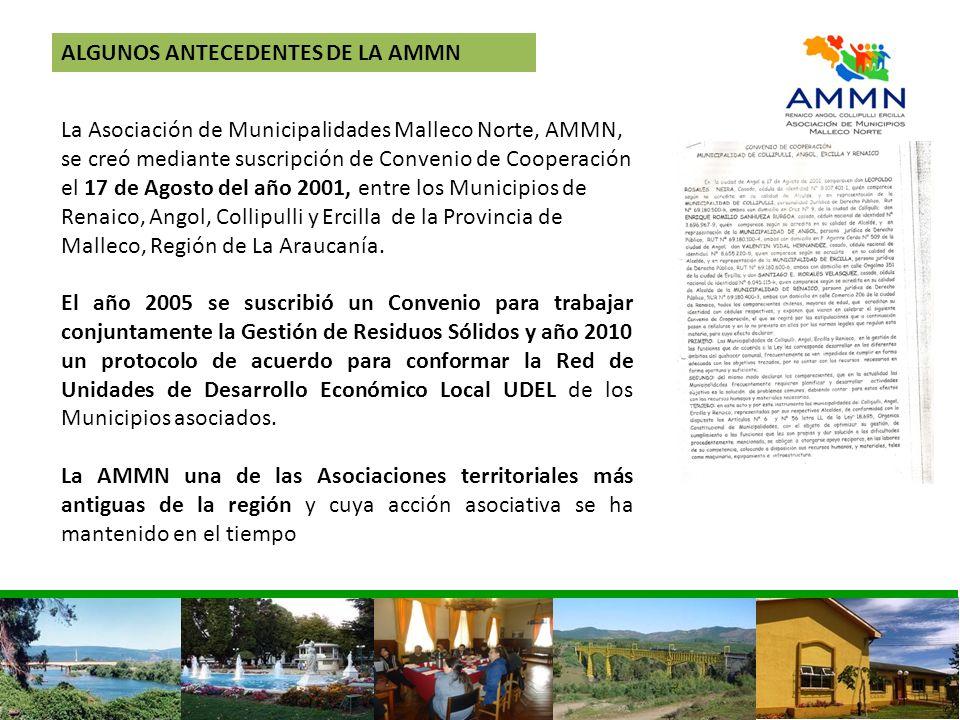 ALGUNOS ANTECEDENTES DE LA AMMN La Asociación de Municipalidades Malleco Norte, AMMN, se creó mediante suscripción de Convenio de Cooperación el 17 de