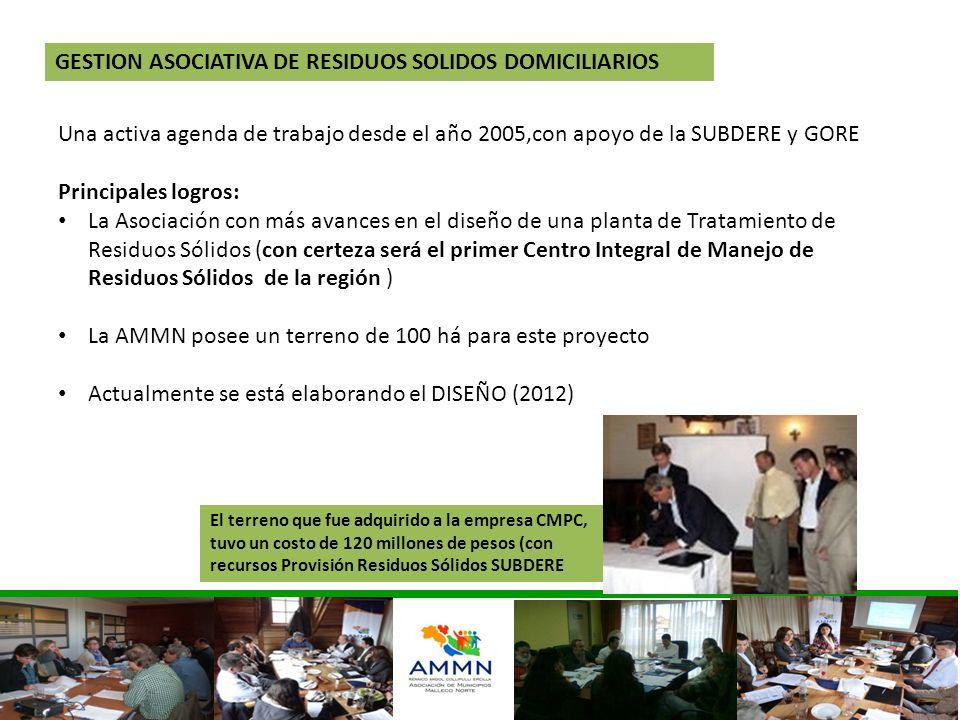 Una activa agenda de trabajo desde el año 2005,con apoyo de la SUBDERE y GORE Principales logros: La Asociación con más avances en el diseño de una pl
