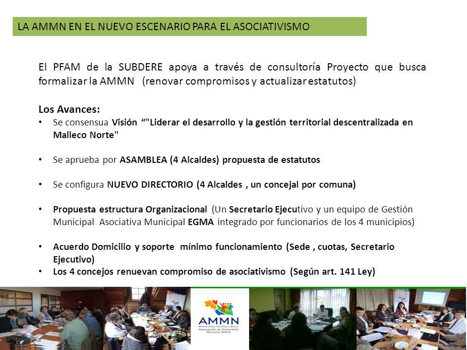 LA AMMN EN EL NUEVO ESCENARIO PARA EL ASOCIATIVISMO El PFAM de la SUBDERE apoya a través de consultoría Proyecto que busca formalizar la AMMN (renovar