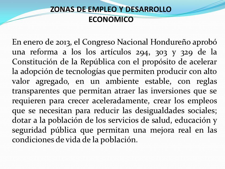 En enero de 2013, el Congreso Nacional Hondureño aprobó una reforma a los los artículos 294, 303 y 329 de la Constitución de la República con el propó