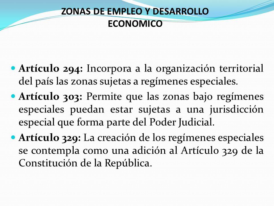 Artículo 294: Incorpora a la organización territorial del país las zonas sujetas a regímenes especiales. Artículo 303: Permite que las zonas bajo regí