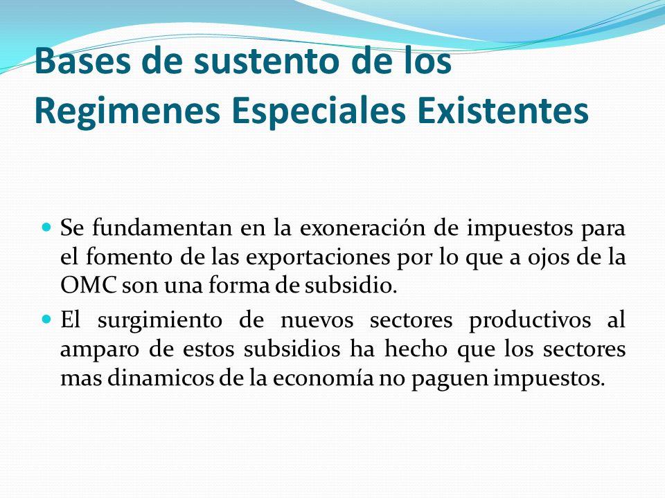 Bases de sustento de los Regimenes Especiales Existentes Se fundamentan en la exoneración de impuestos para el fomento de las exportaciones por lo que
