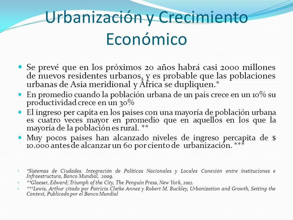 Urbanización y Crecimiento Económico Se prevé que en los próximos 20 años habrá casi 2000 millones de nuevos residentes urbanos, y es probable que
