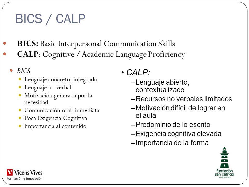 BICS / CALP BICS: Basic Interpersonal Communication Skills CALP: Cognitive / Academic Language Proficiency BICS Lenguaje concreto, integrado Lenguaje