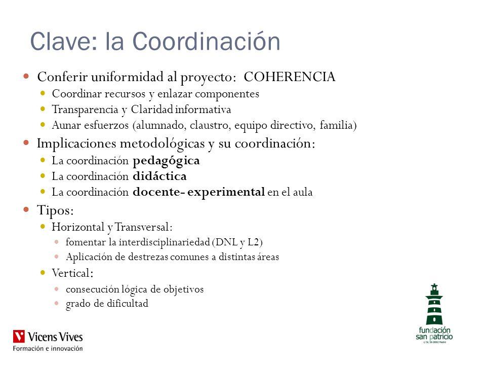 Clave: la Coordinación Conferir uniformidad al proyecto: COHERENCIA Coordinar recursos y enlazar componentes Transparencia y Claridad informativa Auna