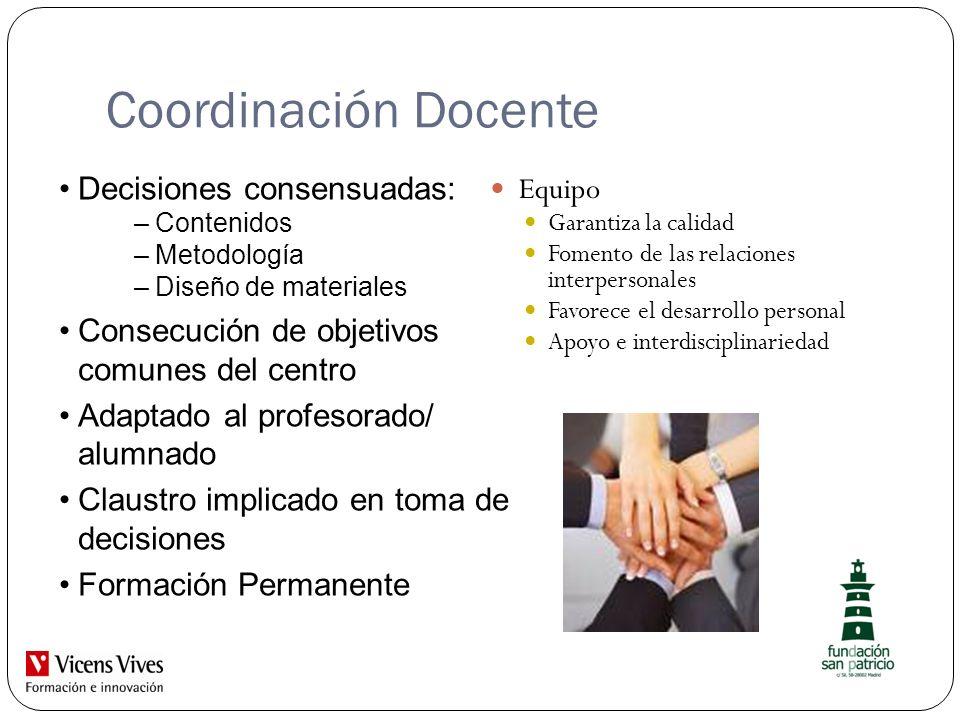 Coordinación Docente Equipo Garantiza la calidad Fomento de las relaciones interpersonales Favorece el desarrollo personal Apoyo e interdisciplinaried