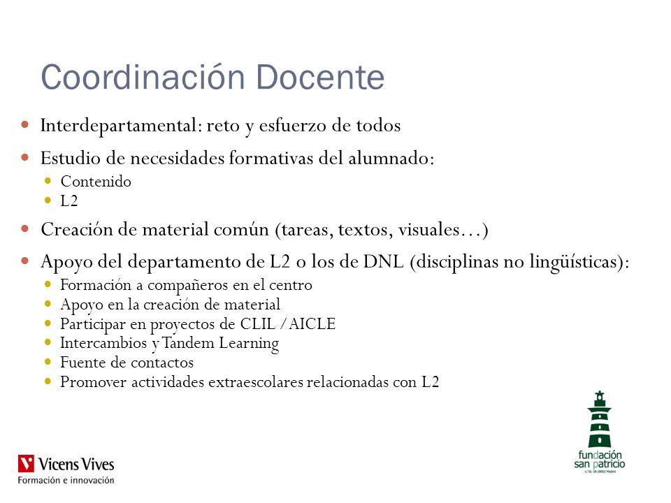 Coordinación Docente Interdepartamental: reto y esfuerzo de todos Estudio de necesidades formativas del alumnado: Contenido L2 Creación de material co