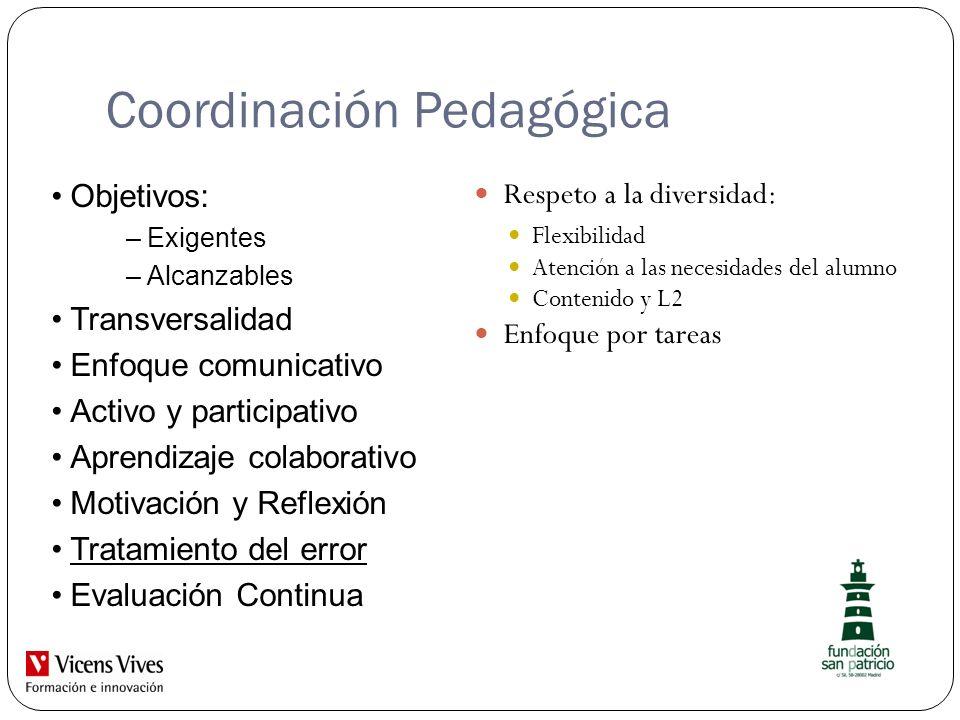 Coordinación Pedagógica Respeto a la diversidad: Flexibilidad Atención a las necesidades del alumno Contenido y L2 Enfoque por tareas Objetivos: –Exig