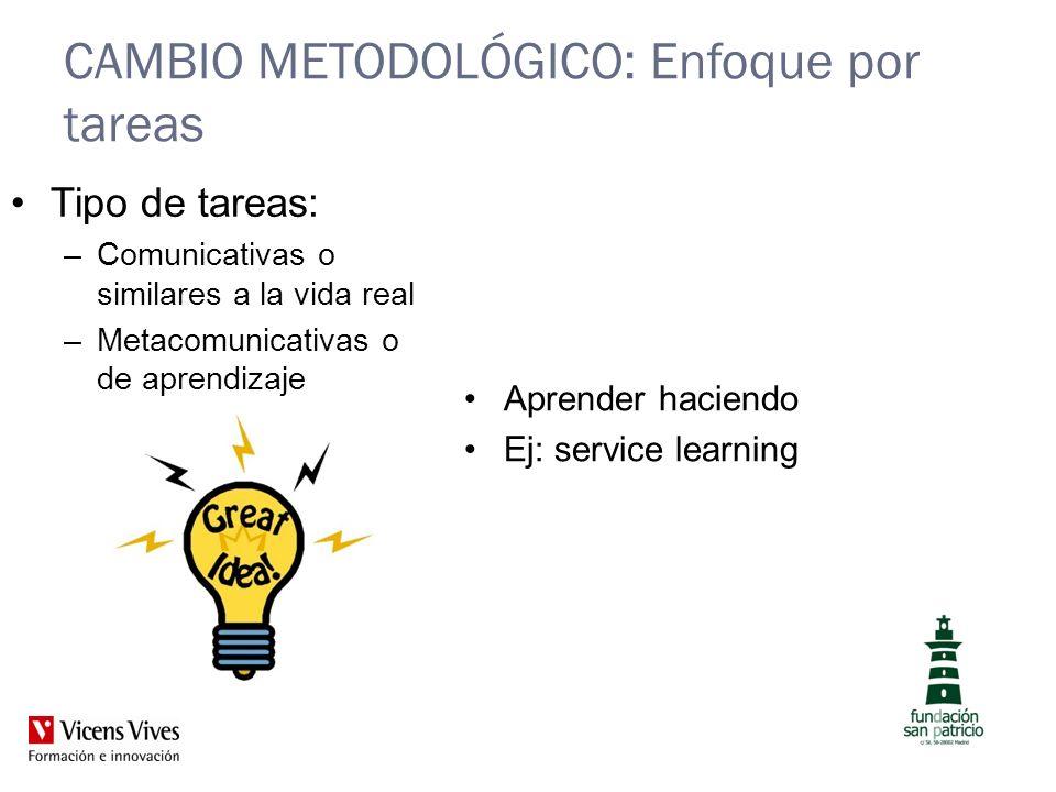 CAMBIO METODOLÓGICO: Enfoque por tareas Aprender haciendo Ej: service learning Tipo de tareas: –Comunicativas o similares a la vida real –Metacomunica